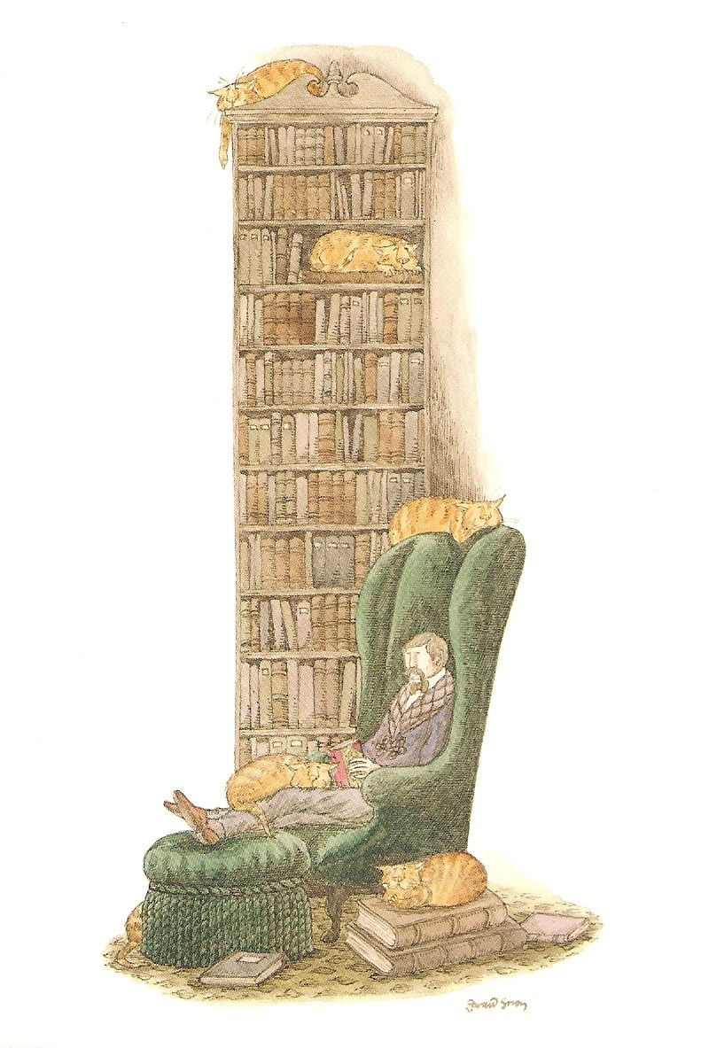 Edward Gorey Bibliophile with Cats - Google Search