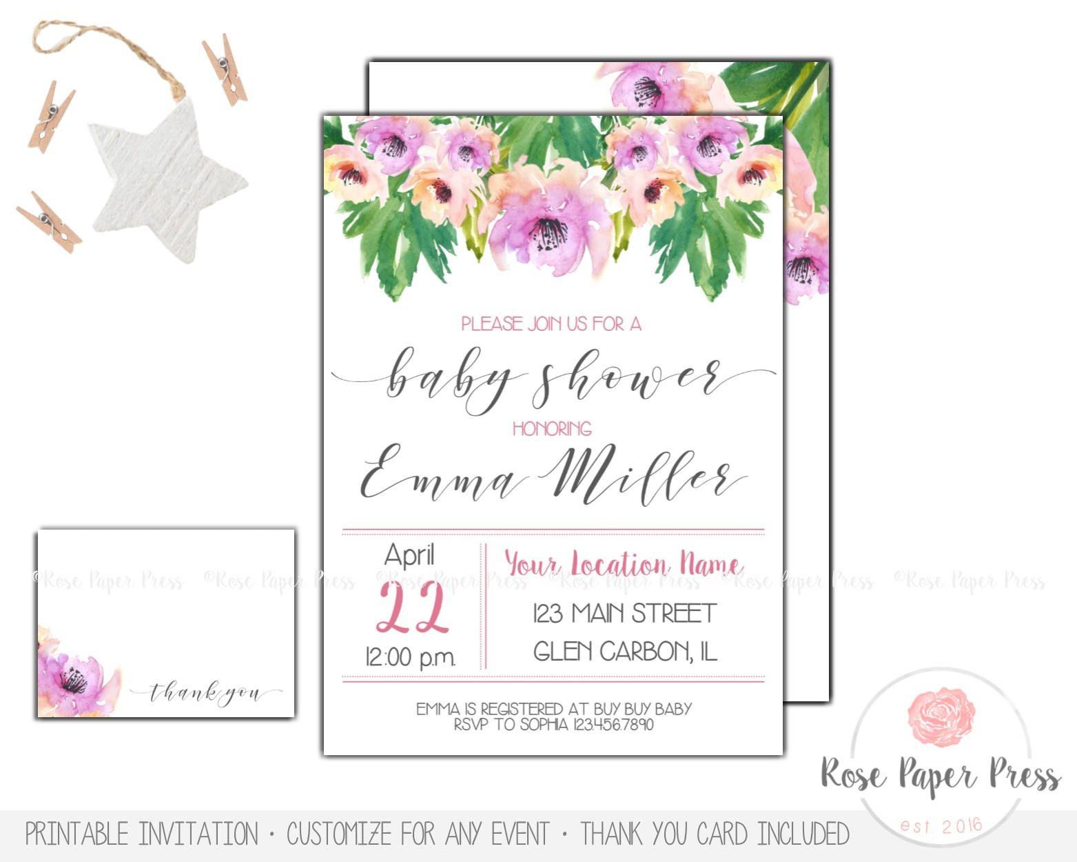 Floral Baby Shower Invitation Set