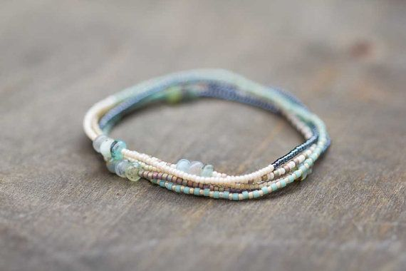 Japanese and Czech seed beads are combined with gorgeous, earthy Peruvian opals to form a versatile strand that goes easily from necklace to wrap