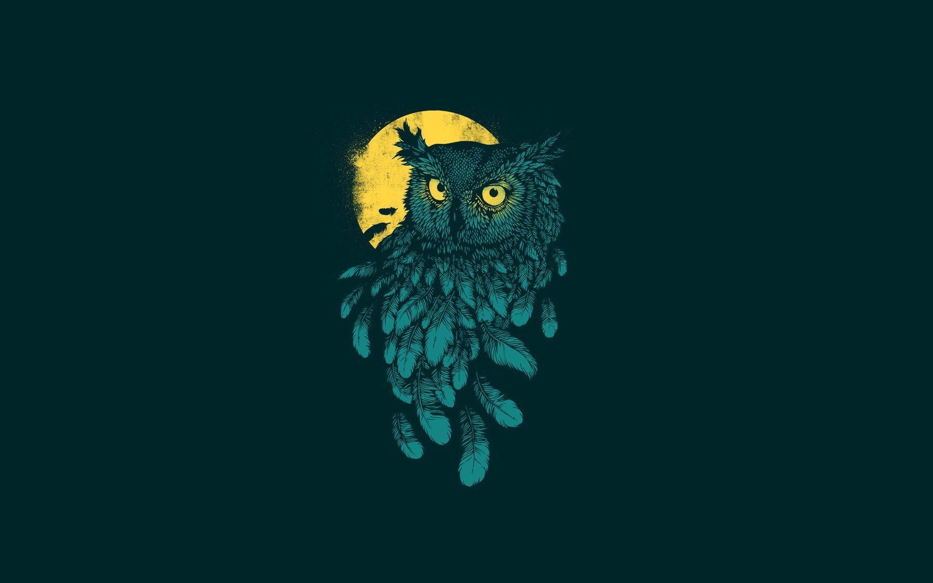 General 1920x1200 Digital Art Minimalism Animals Owl Feathers Moon Yellow Eyes Simple Background Owl Background Owl Wallpaper Feather Wallpaper