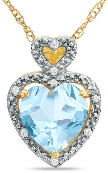 Zales 8.0mm Lab-Created Aquamarine and Diamond Accent Pendant in 10K Gold Y8WhO3Zt