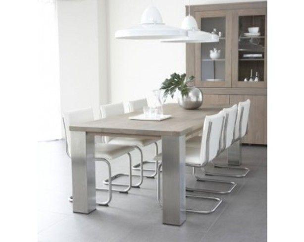 Eiken eettafel met rvs poten en moderne stoelen huis for Eettafel en stoelen