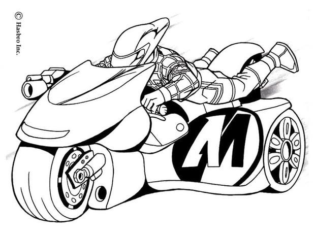 here a coloring page of action man on his turbo bike discover all your favorite - Bike Coloring Pages