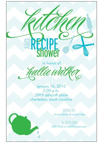 chevron shower invitations!  love blue and green too, especially since they're part of my wedding palette