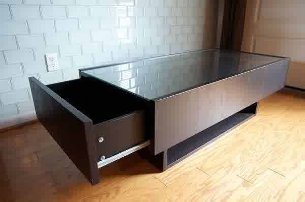 Coffee Table Display Case Gl Top Ikea With Drawer