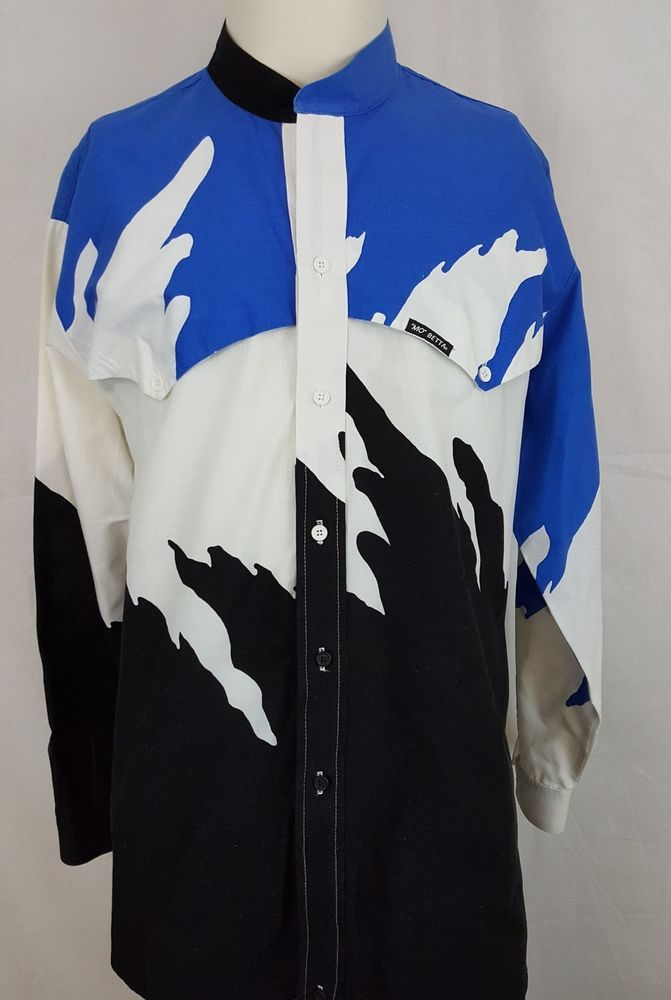 6a32a65b141d43 Find many great new & used options and get the best deals for Mo Betta  Country Western Banded Collar Garth Brooks Blue Splash Shirt 18 x 36 at the  best ...