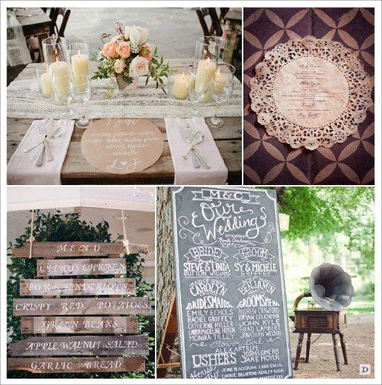 menu mariage retro vintage assiette napperon dentelle papier ...