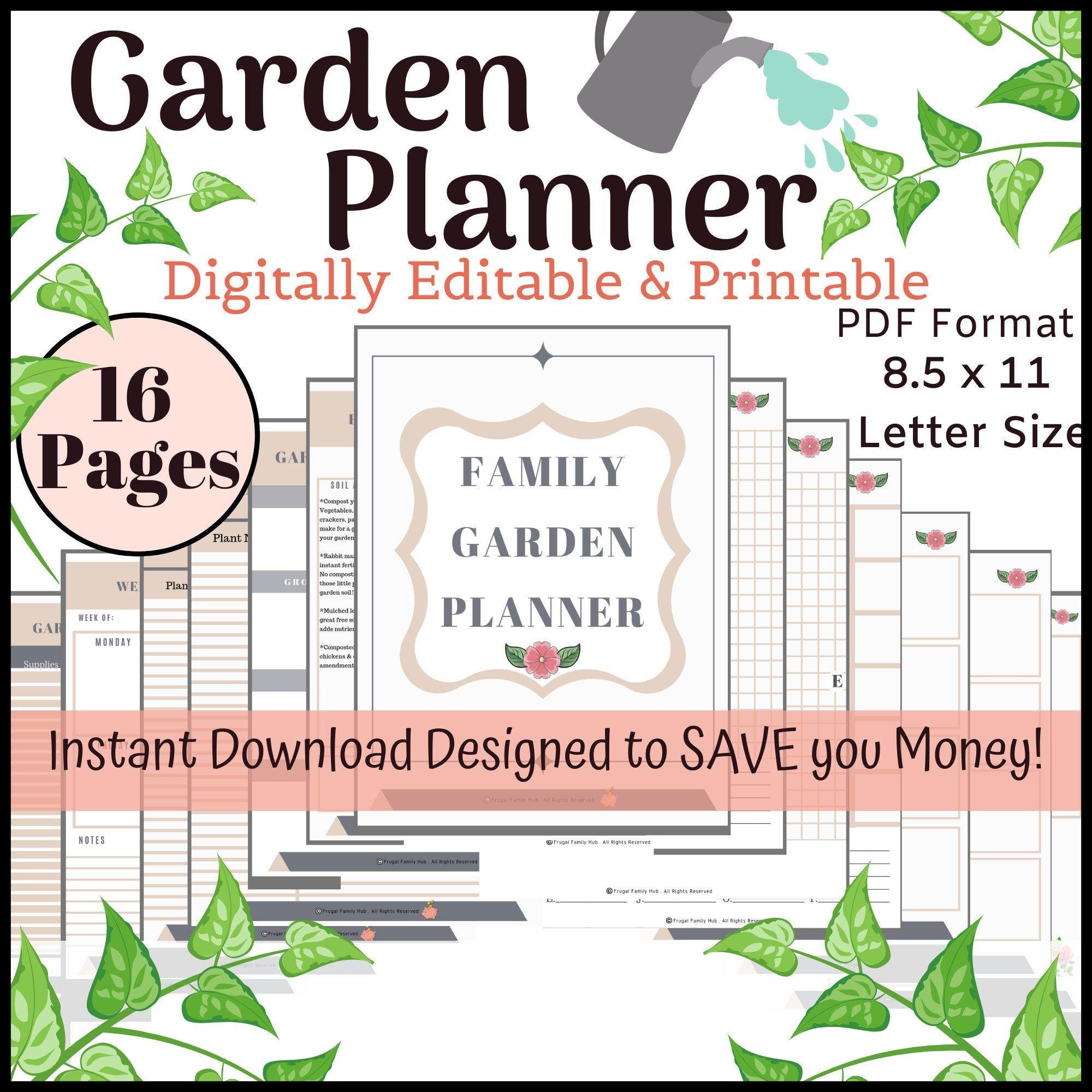 Gardening Planner Garden Planner Printable Digitally Etsy In 2020 Garden Planner Vegetable Garden Planner Planner