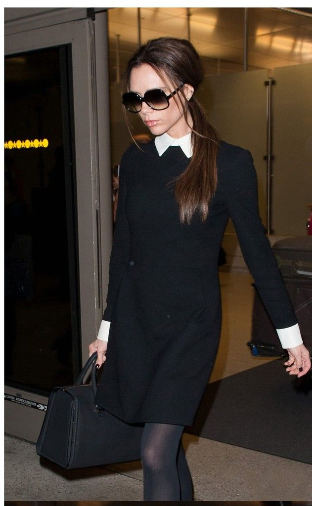 2017 Fashion Star Style Victoria Beckham Dress Slim Elegant Turn Down Collar Long Sleeve Black Dresses For Women On Aliexpress 20 72