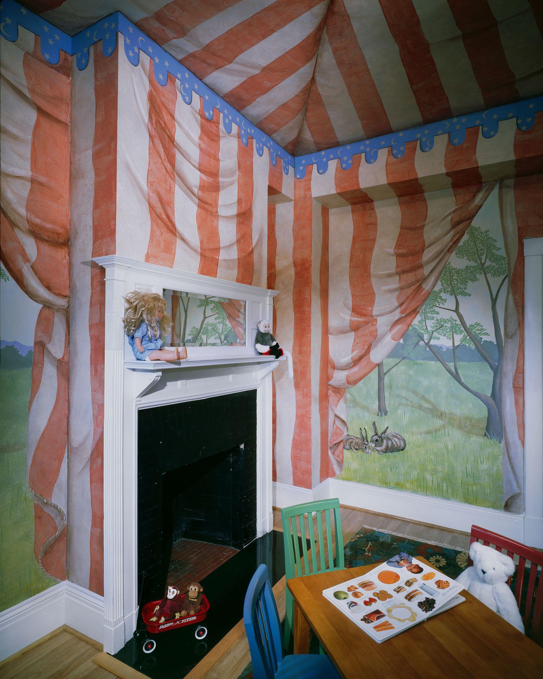 Bedroom Art Mural: Tent Trompe L'oeil Room Painting. Children's Bedroom Idea