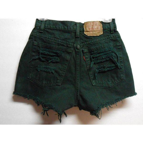 Vintage Dark Green Levis High Waisted Denim Shorts -Distressed ...