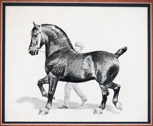 George Ford Morris BLACK PERCHERON DRAFT, watercolor on paper