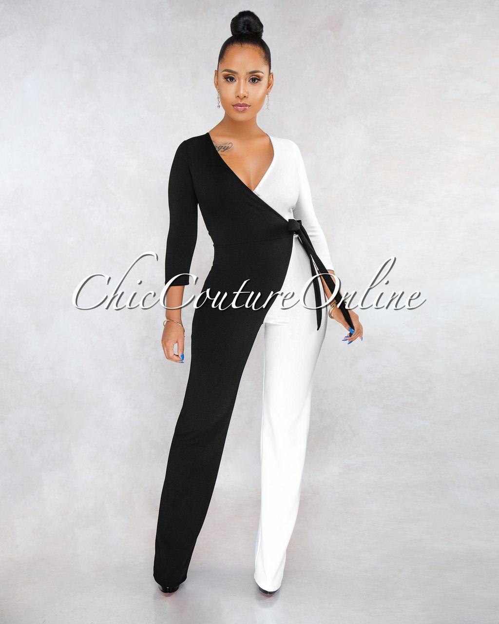 b88c4138ba8a Chic Couture Online - Simona Black White Block Color Wrap Jumpsuit ...