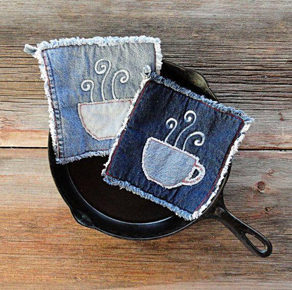 Caldo caffè presine  Blue Jeans presine  le di DeMasterDesigns