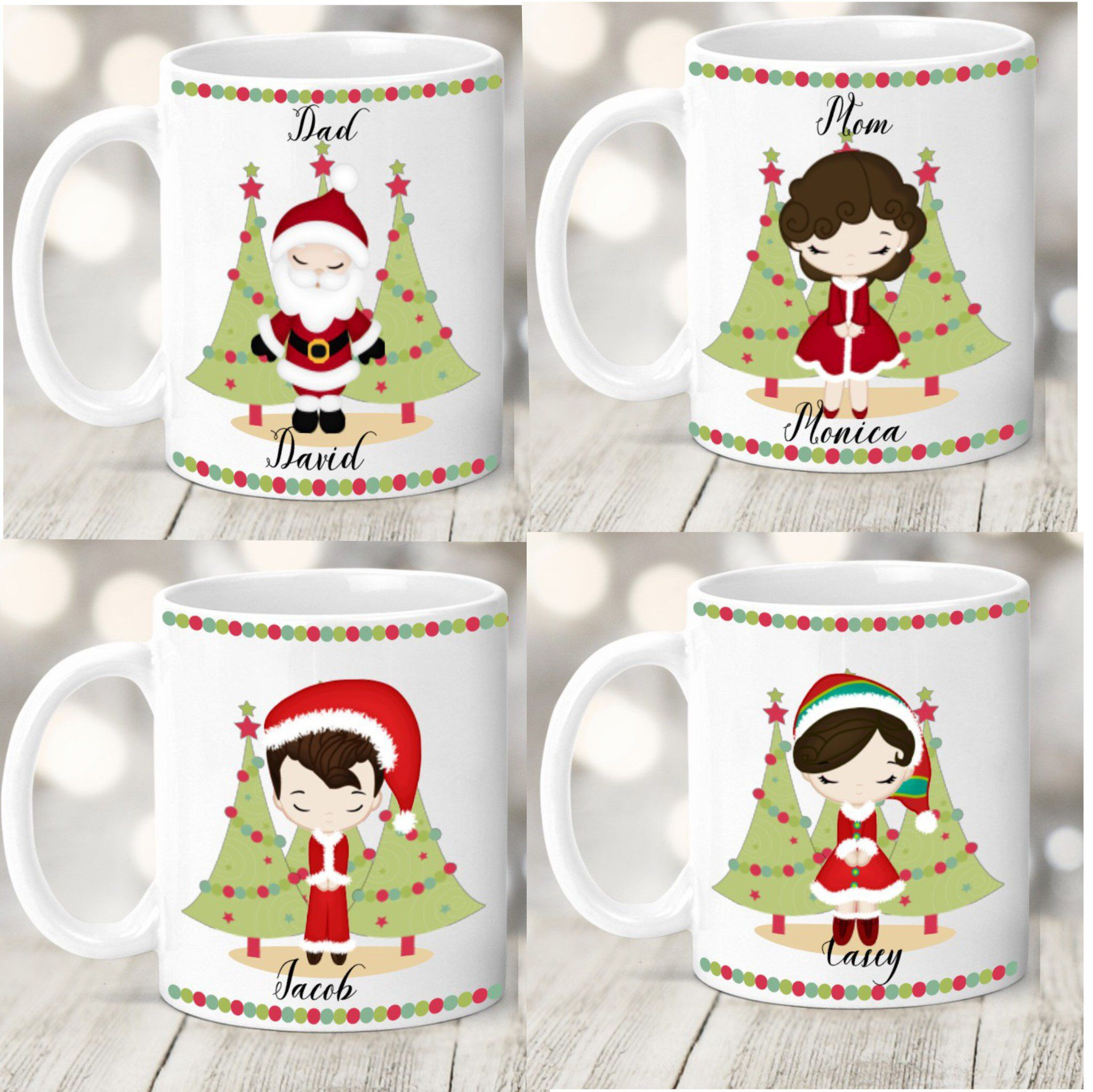 Family Christmas Mugs Personalized