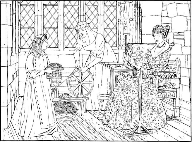 Medieval Contemporary Wedding Art 15th Century Coloring Pages