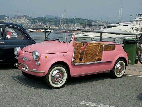 Imagem de car, pink, and vintage