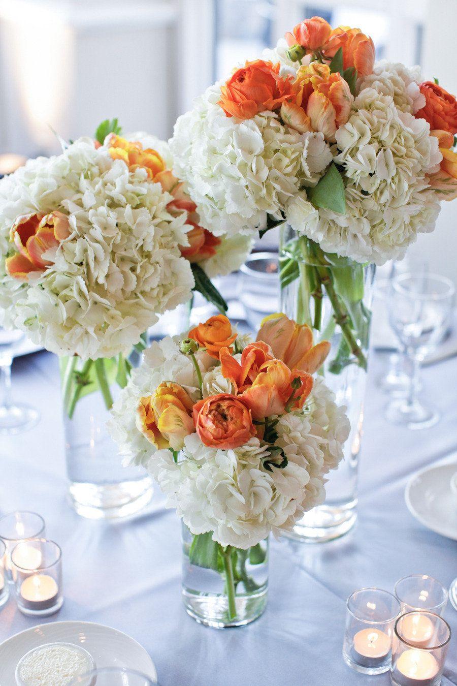 Orange and white floral centrepiece
