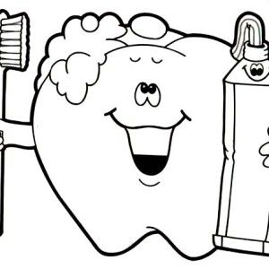Tooth Brushing Himself at Dentist Coloring Pages | Dental Health ...