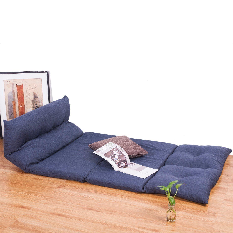 365aa0096da4 Amazon.com: Merax Adjustable Fabric Folding Chaise Lounge Sofa Chair Floor  Couch (Navy 1): Home & Kitchen