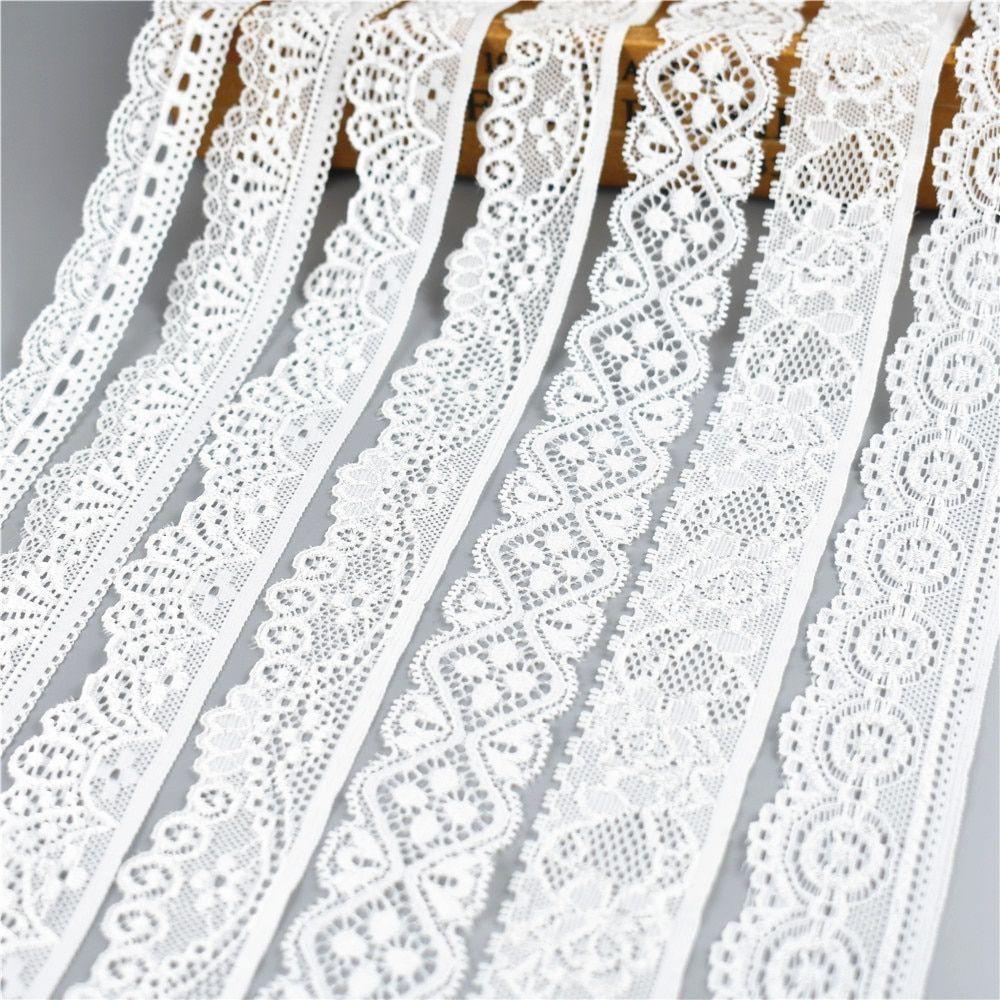 5 Yard 7cm Wide Black Floral Stretch Lace Trim DIY Sewing Applique Craft
