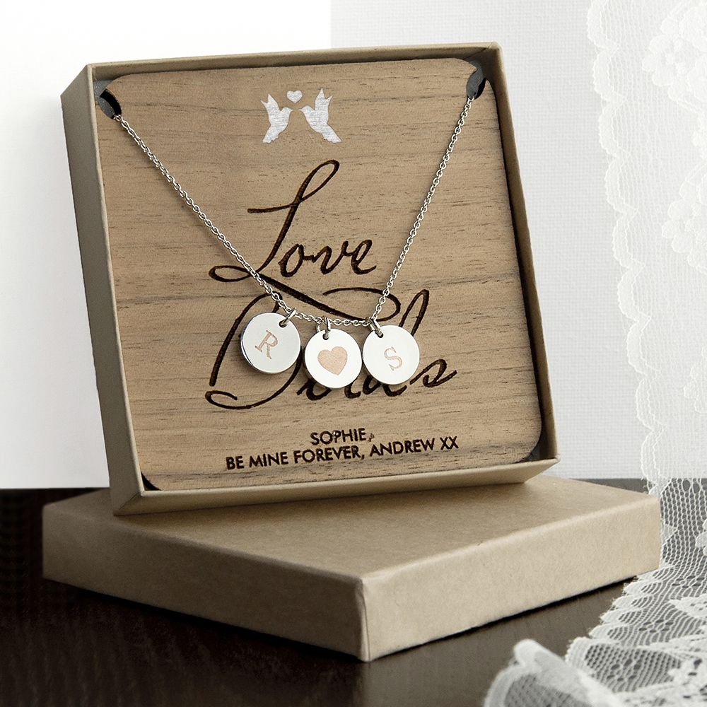 Personalised Love Birds Necklace & Keepsake.  Designed and personalised in the UK by Treat Gifts, London.