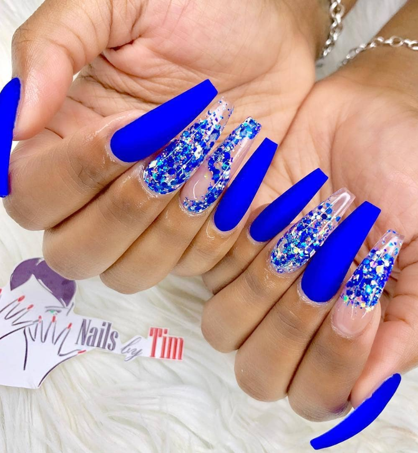 50 Fabulous Sparkly Giltter Acrylic Blue Nails Design On Coffin And Stiletto Nails To Try Now Page 4 Of 54 Latest Fashion Trends For Woman Blue Acrylic Nails Blue Coffin Nails Blue Nail Designs