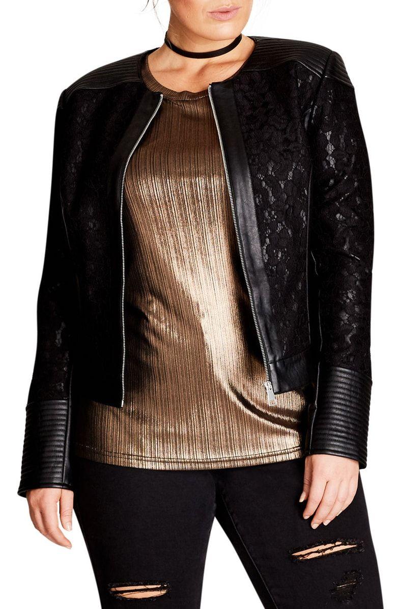 City Chic Wild Heart Faux Leather Jacket (Plus Size Faux