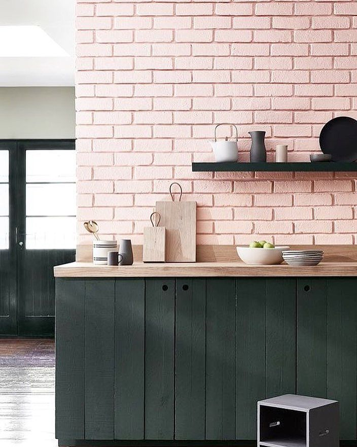 Best Pink Brick Wall In The Kitchen Who D Have Thought That 400 x 300
