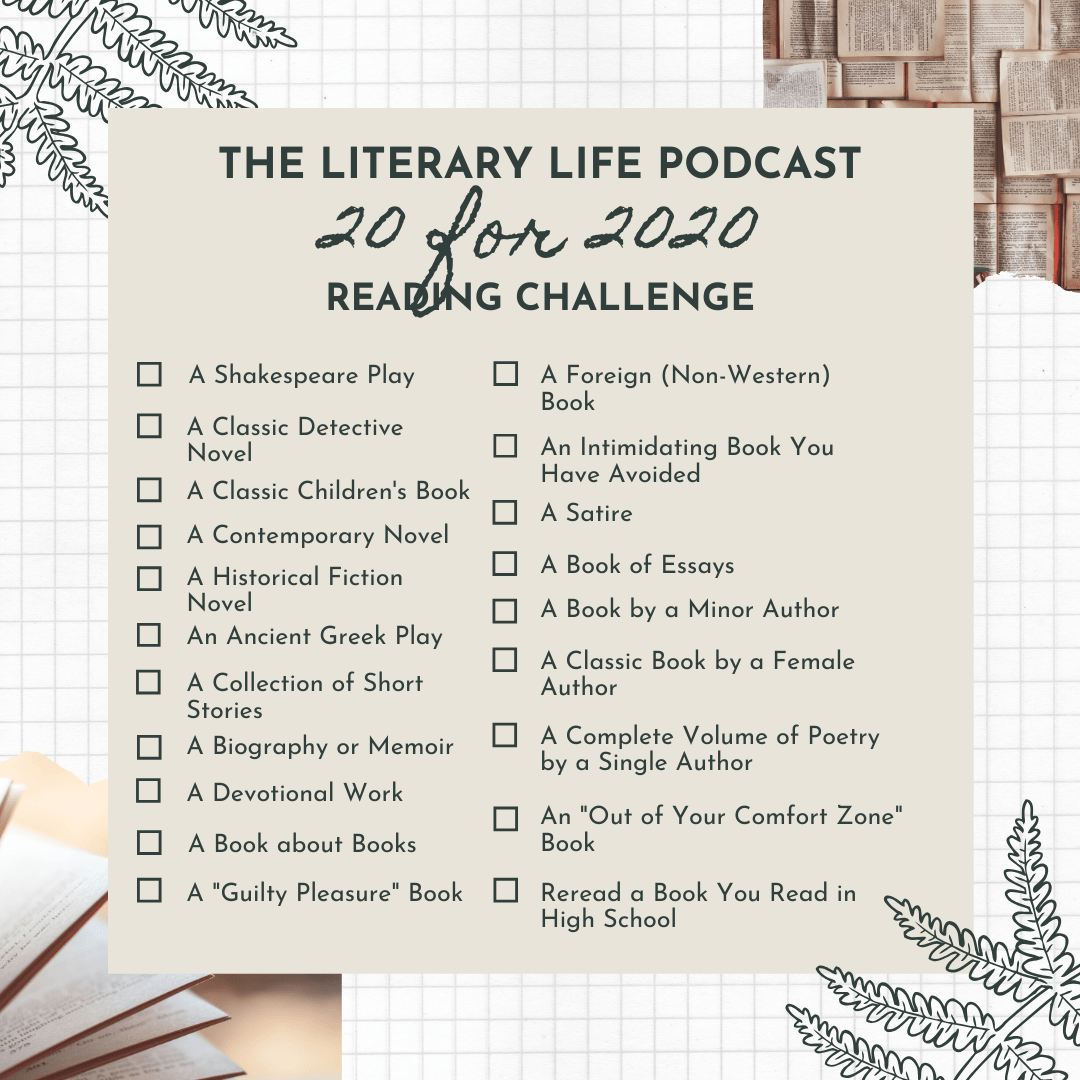 The Literary Life 20 For 2020 Reading Challenge My Book Picks Tuning Hearts Reading Challenge Book Challenge Reading List Challenge