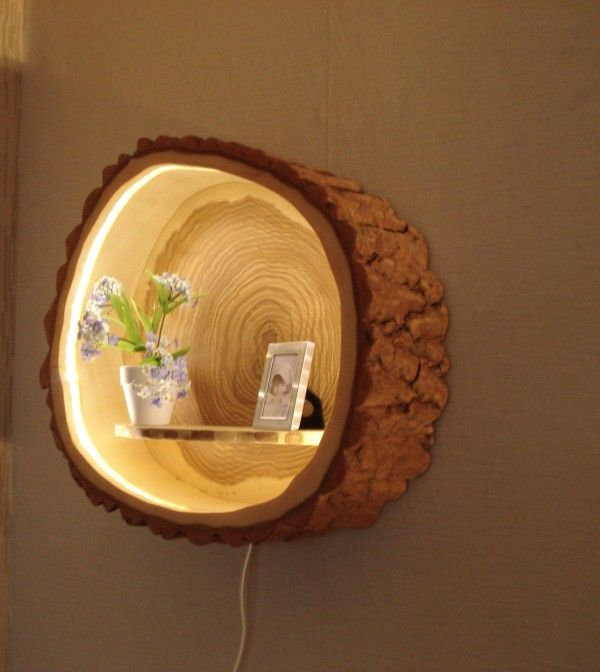 Check Out This Adorable Tree Trunk Lamp Shelf Istandarddesign Crafts Diy Wall Wood Projects