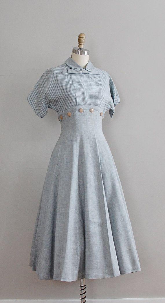 11da2a9cbc 1950s linen dress #daydress #vintage #frock #retro #teadress #romantic  #feminine #fashion