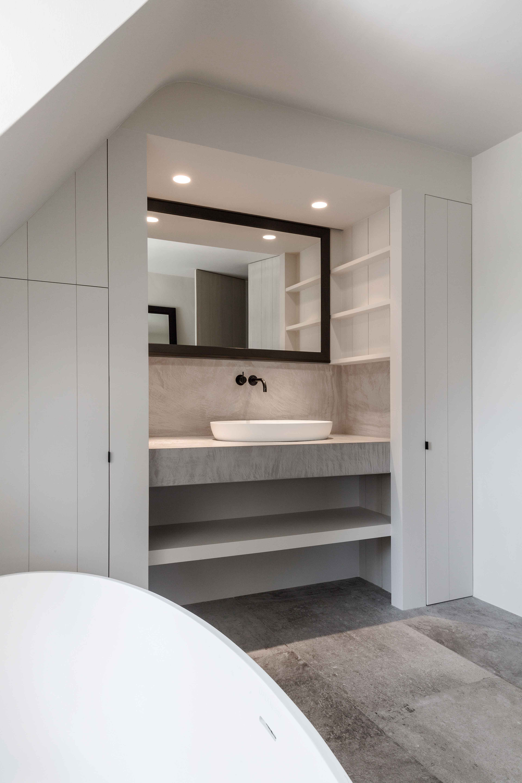 Modern Bathroom Grey Stone Concrete White Cabinets Bathrooms