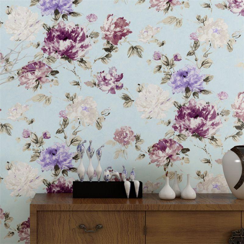 3D Flower Wallpaper Leaf Vintage Living Room Non-woven