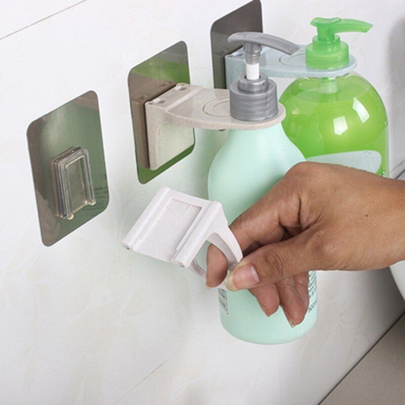 Gel Bottle Rack Hook Bracket Bathroom Wall Magic Paste Shampoo