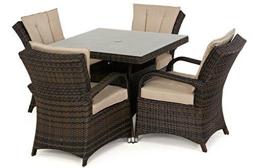 San Diego Rattan Garden Furniture Houston 4 Seater Square Table Set