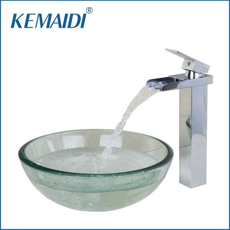 Photo of KEMAIDI Contemporary transparent set made of tempered glass and faucet