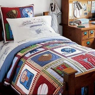 Sports Quilts New Pottery Barn Kids Sports Twin Quilt I - Boys sports bedding sets twin