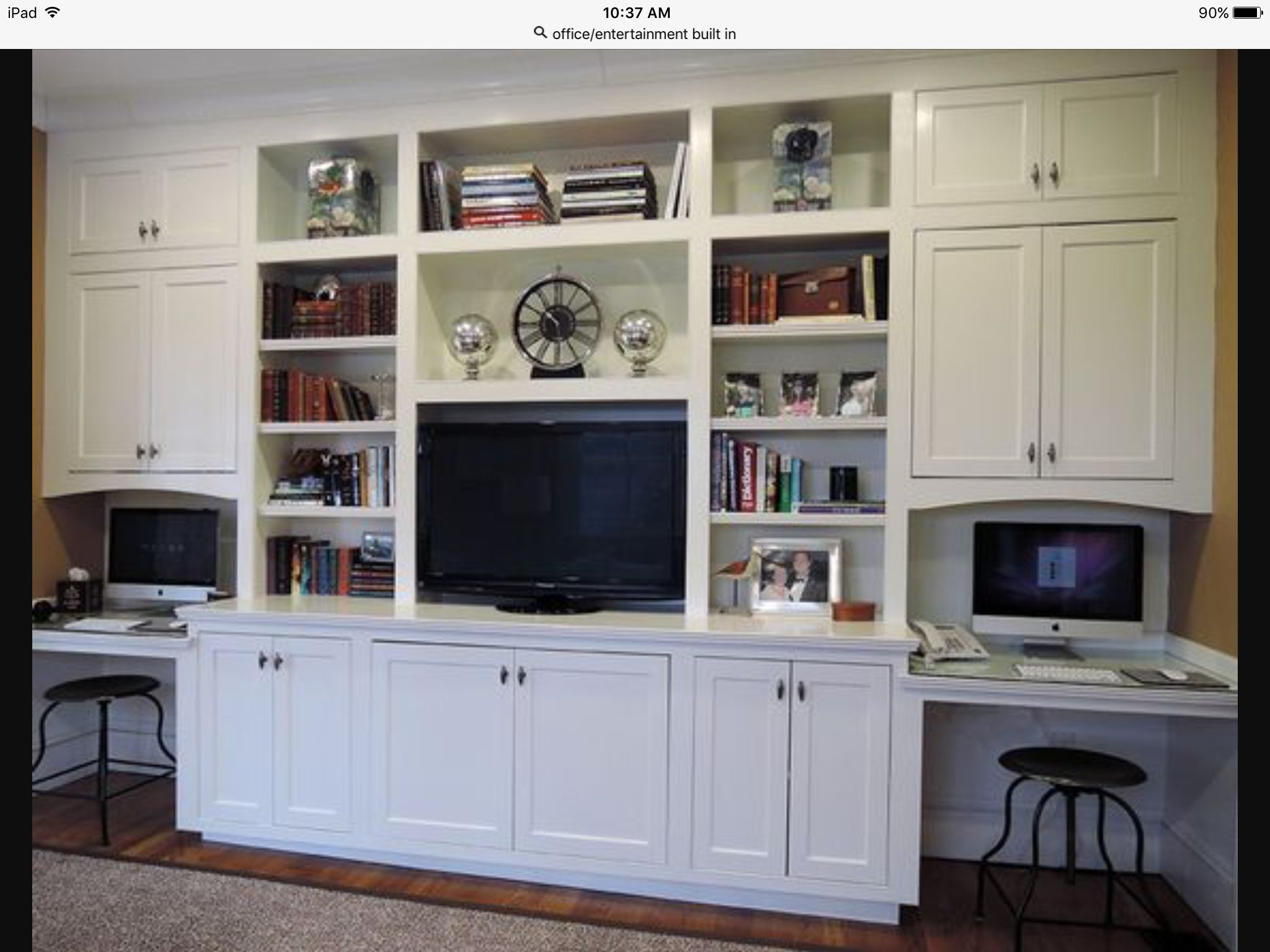 Wall Unit With Tv And Workstation Living Room Built Ins Desk