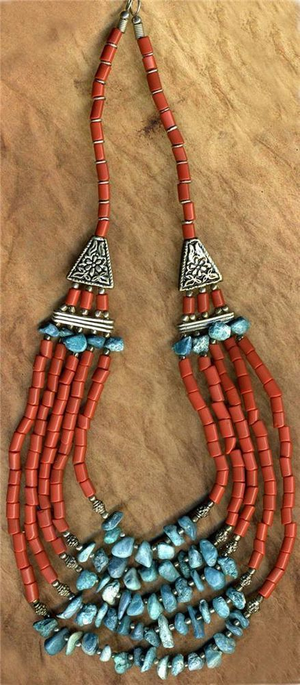 2 Southwest Costume Jewelry Necklaces~Multistrand Beaded, Red Tile Glass,Metals