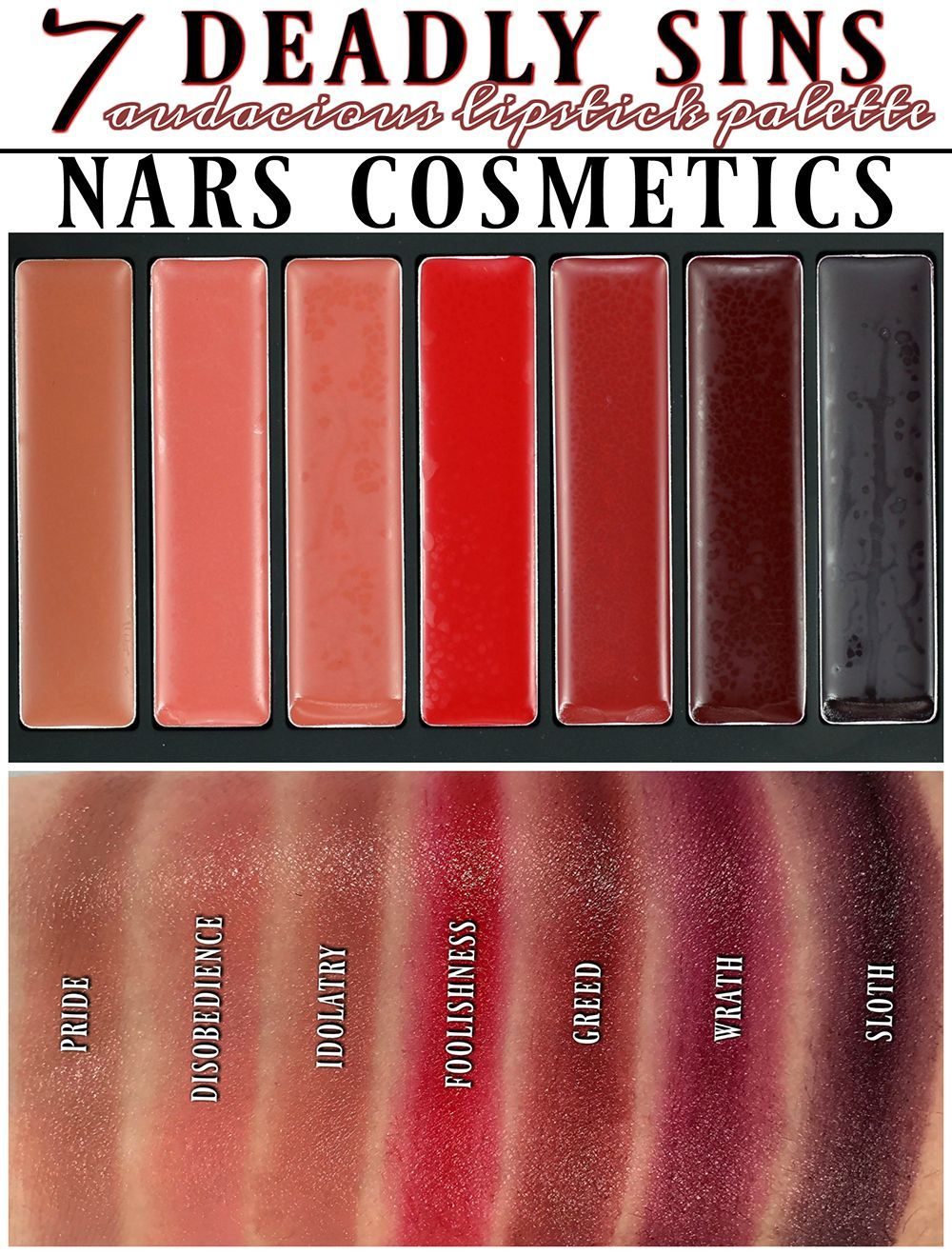 Nars 7 Deadly Sins Audacious Lipstick Palette Swatches Review