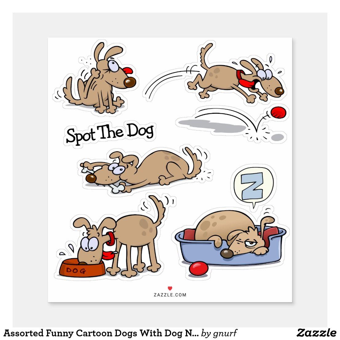 Assorted Funny Cartoon Dogs With Dog Name Sticker Zazzle Com