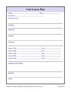 Complex Unit Lesson Plan Template  Lesson Plan Templates