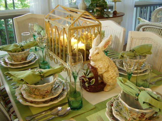 Springtime Tablescape With A Greenhouse Centerpiece