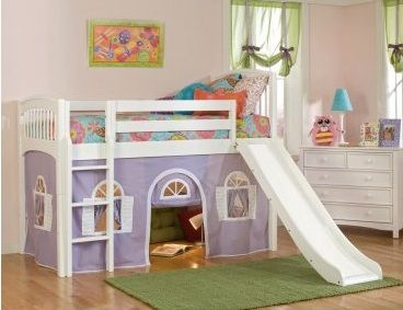 I could totally do this with an IKEA loft bed plus a slide. YES!