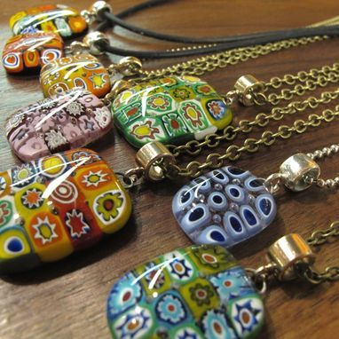 Custom Made Contemporary Styled Millefiori Fused Glass Necklace, 1480