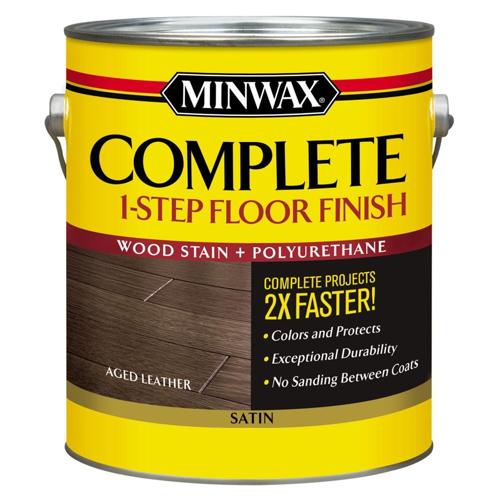 Minwax 1 Gal Complete 1 Step Floor Finish Aged Leather Satin Interior Stain Floor Finishes Staining Wood It Is Finished