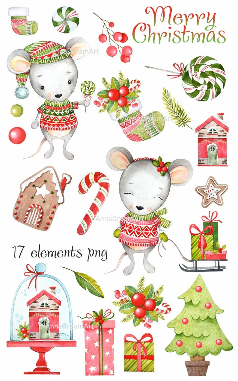 New Year Set 2020. Watercolor Clip Art. Christmas Mouse