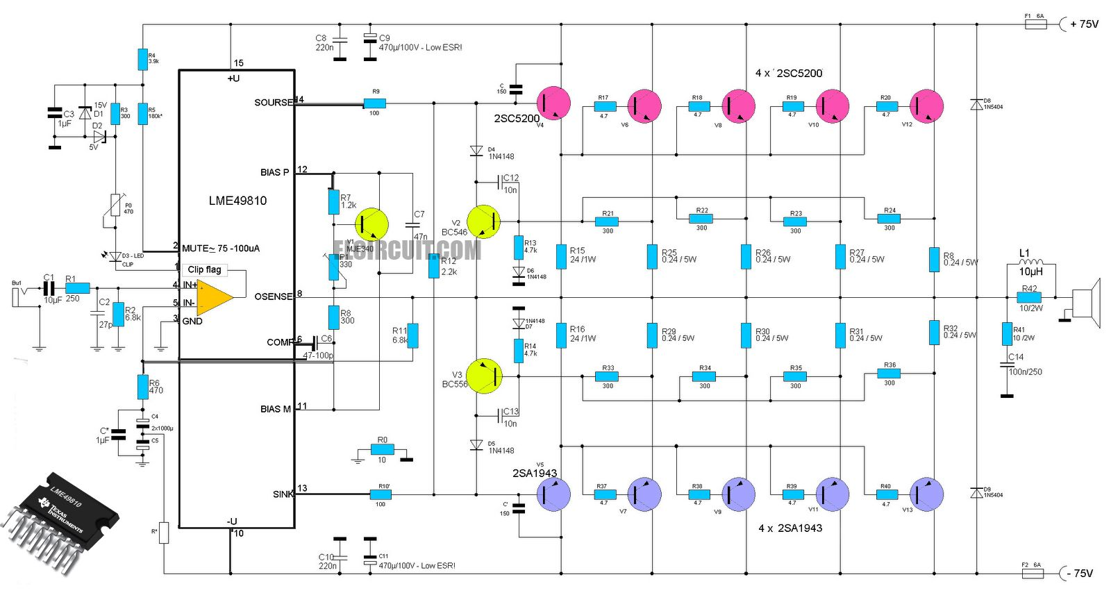 High-End Power Amplifier Circuit using ic LME49810 as a driver amplifier  and using Transistor 2SC5200 2SA1943. LME49810 is a high fidelity audio  power ...