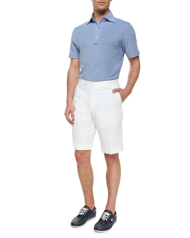 Woven Cotton Shorts, White